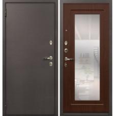 Входная дверь  Лекс 1А медный антик №30 Берёза морёная с зеркалом