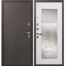 Входная дверь  Лекс 1А медный антик №37 Белый ясень с зеркалом