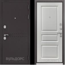 Входная дверь  Бульдорс Mass-90 Букле шоколад R-4 Ларче белый 9SD-2