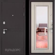 Входная дверь  Бульдорс Mass-90 Букле шоколад R-4 Ларче бьянко 9P-140, mirror