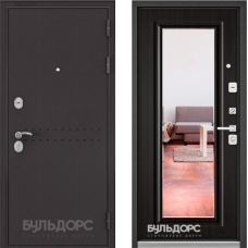 Входная дверь  Бульдорс Mass-90 Букле шоколад R-4 Ларче темный 9P-140, mirror
