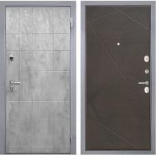 Входная дверь  Интекрон Спарта Грей Лучи-М (Бетон темный / Венге распил кофе)