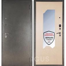 Входная дверь  с зеркалом Аргус ДА-8 (Серебро антик / Беленый дуб)