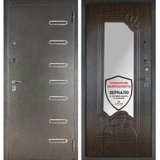 Входная дверь  с зеркалом Аргус ДА-6 Элис (Серебро антик / Венге)