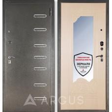 Входная дверь  с зеркалом Аргус ДА-8 Элис (Серебро антик / Беленый дуб)